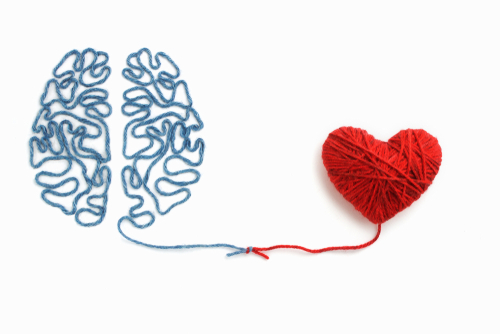 A yarn representation of the brain connected to the heart, showing how mindfulness allows you to stay connected to the present moment